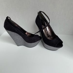 Call it Spring - Black/ Silver Elois Wedge